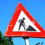 Road closure road sign